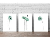 Set 3 Poppies Duck Egg Blue Watercolor Art Prints, Dusty Teal Home Decor, Poppy Painting Wall Illustration, Abstract Flower Minimalist Print