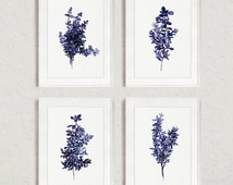 Abstract Leaves Watercolor Painting, Royal Blue Botanical Art Print, Thyme Kitchen Wall Decor, Herb set 4 Retro Herbs and Spices Food Art