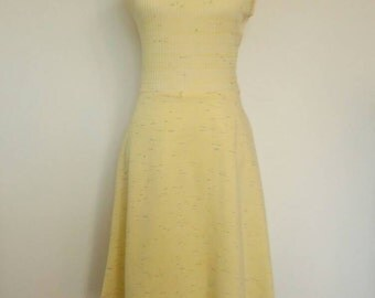 Vintage pastel pale yellow knit dress and matching jacket 1960's set