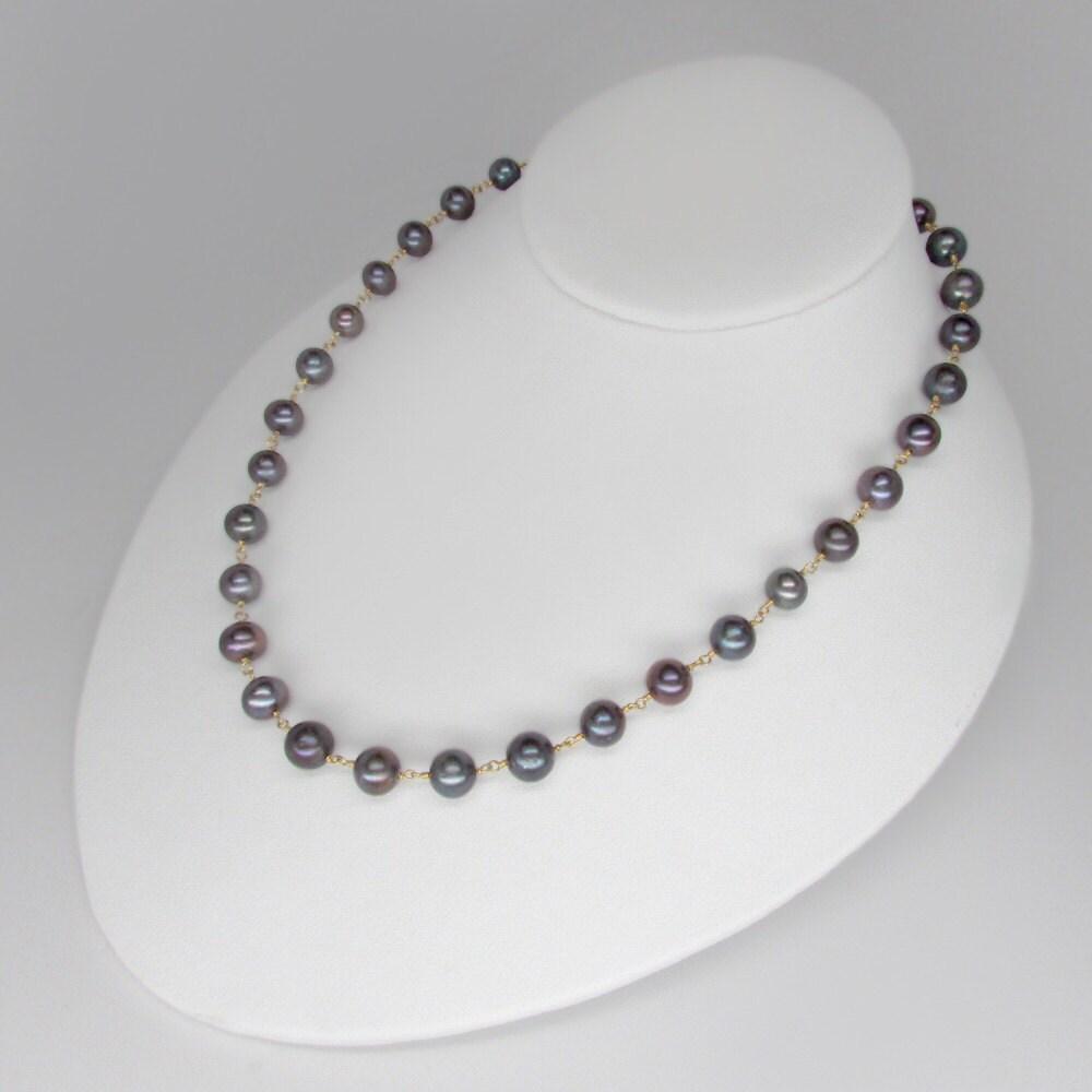 black pearl necklace authentic black pearl necklace 18k gold. Black Bedroom Furniture Sets. Home Design Ideas