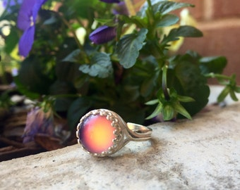 Silver Mood Color Changing Ring 10mm Round Size Adjustable