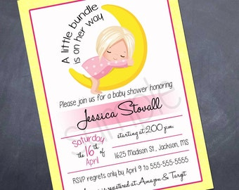 Printable Baby or Adoption Shower Invitation - Little Bundle - Sleeping Baby - 5x7