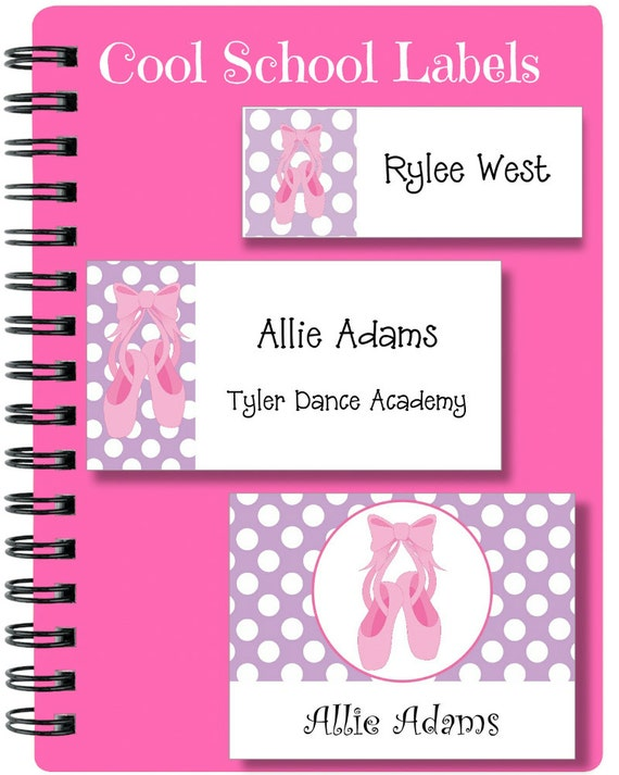Ballet Stickers, School Labels, Back to School, Ballet Shoes, Personalized Stickers, Personalized Labels, Ballet Labels, Tags