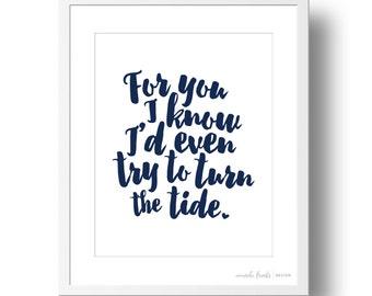 "Navy Blue Johnny Cash ""Walk the Line"" Lyrics Art Print | 8x10 or 11x14 | Valentine's Day"