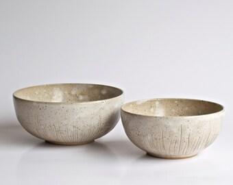 Handmade Pottery Bowl - Ceramic Bowl - Stoneware Bowl - Hand Carved Bowl - Serving Bowls - Cereal Bowl - Ice Cream Bowl - Set of 2 Bowls