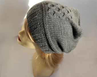 Knit hat Gray pure cashmere