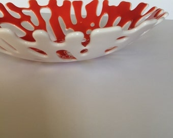 FREE SHIPPING - Red Fused Glass Coral Bowl
