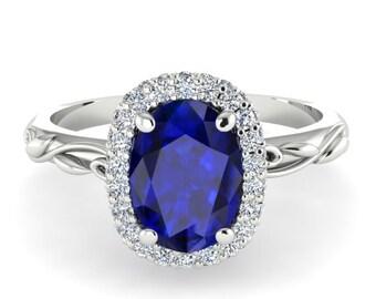 Diamond Engagement Ring, Oval Diamond Wedding Ring, Vine And Leaf Diamond White Gold Ring, Blue Sapphire And Diamonds Engagement Ring