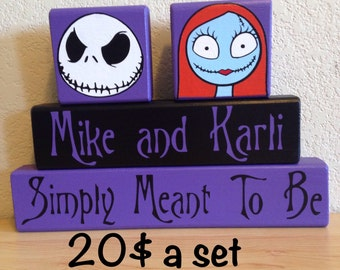 Nightmare before christmas jack and sally block sign