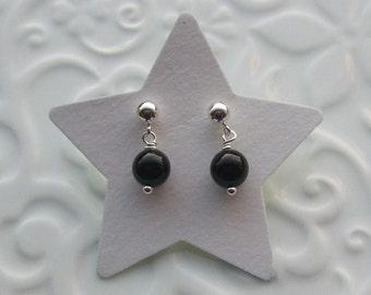 Black Agate semi precious sterling silver earrings