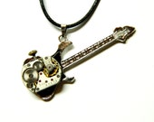 """Steampunk jewelry """"The guitar"""" silver colored necklace, small clockwork, great steam punk for rock man, unique birthday gift for father, son"""