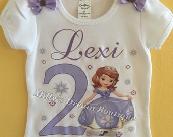 Sofia The First Inspired Personalized Birthday T-Shirt/ Any name, Any age