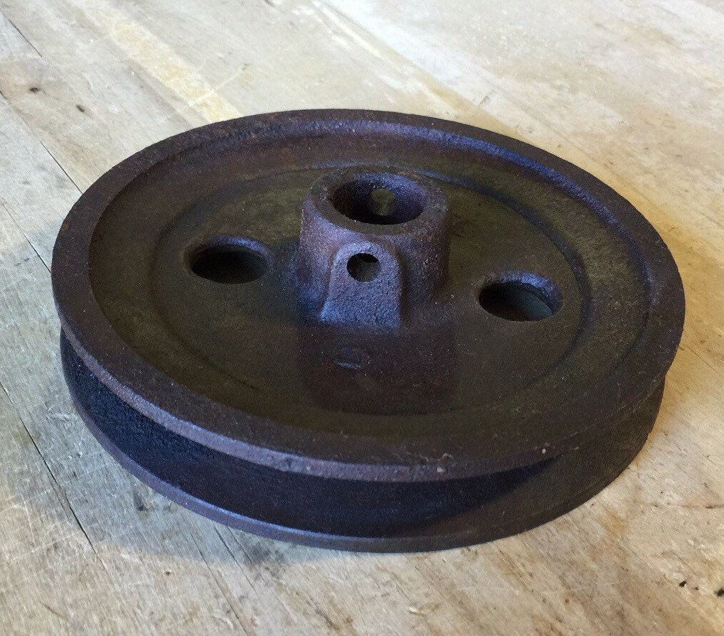 Cast Iron Wheels And Gears : Cast iron metal pulley gear wheel antique vintage large
