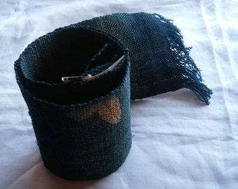 Japanese indigo KATAZOME dyed blue table center hemp fabric 011
