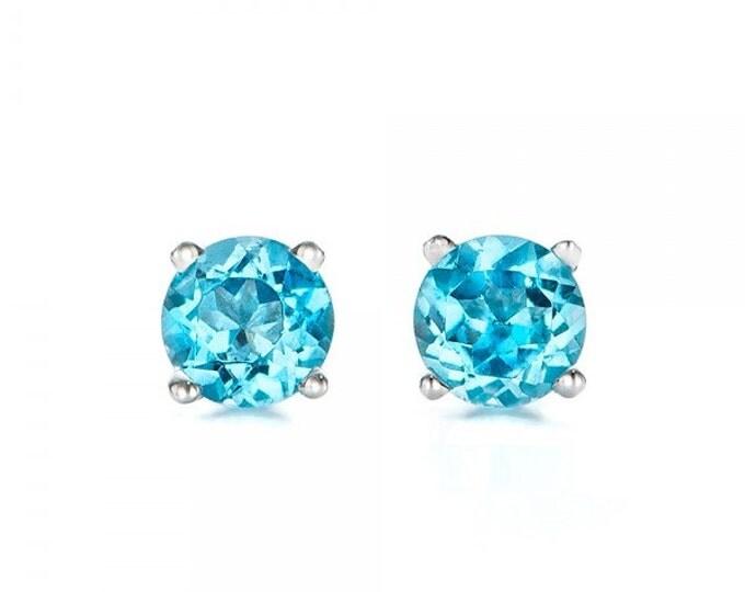 1 carat blue topaz earrings studs-Blue topaz-Natural blue topaz stud earrings-14 k white gold earnings-Birthday present-Anniversary gift