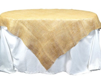 "Natural / Tan 60"" x 60""Burlap Table topper, Burlap Table Cloth for special events, rustic wedding theme, other colors are available(BH-TS12)"
