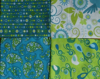 Set of 4 Fat Quarters, Birds, Green and Blue Paisley, Turquoise