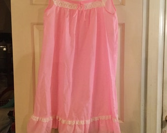 Woman's Vintage Cotton and Lace Pink Nightgown
