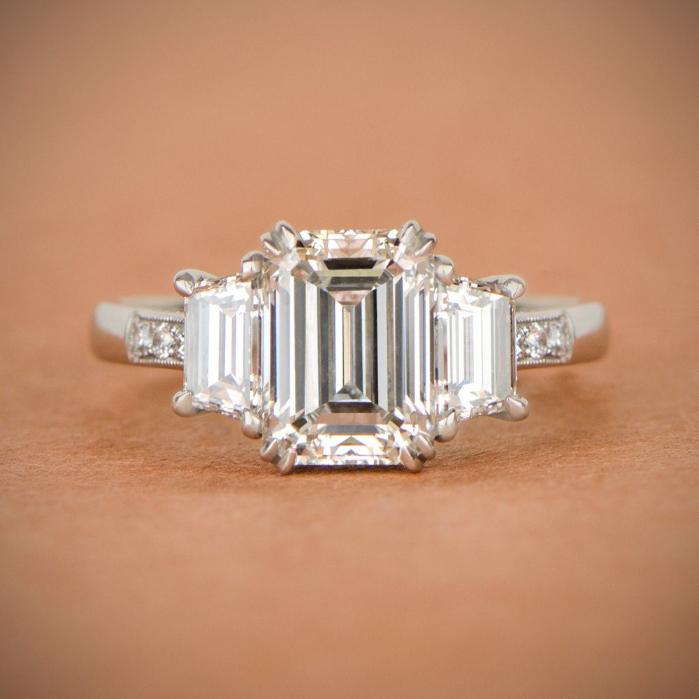 vintage emerald cut diamond ring certified by the gia. Black Bedroom Furniture Sets. Home Design Ideas