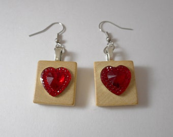 Heart Earrings,Earrings, Scrabble Earrings,Scrabble Tile with Hearts,Scrabble Heart, Heart Earrings, Mothers Day,Scrabble,Handmade,Heart,Mom