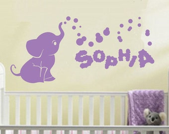 Name Wall Decal - Elephant Wall Decal - Nursery Baby Room Decor - Elephant Bubbles Decal - Nursery Wall Decals Vinyl wall decor kids room