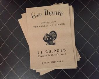 Vintage turkey kraft thanksgiving Printable Invitation