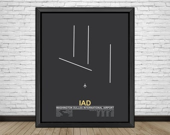 Washington Dulles International Airport (IAD) Dulles, Virginia, Minimalist Style Airport Runway Prints with Airport Facts
