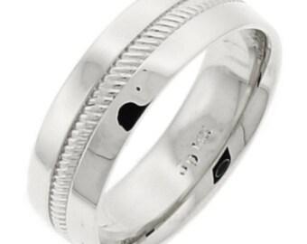 Center Hand Carved Wedding Ring