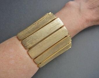 Laura Vogel Bracelet, vintage Laurel Vogel, gold statement bracelet, Laura Vogel runway, Laura Vogel, large gold stretch bracelet, couture
