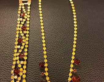 Chocolate and amber rhinestone set