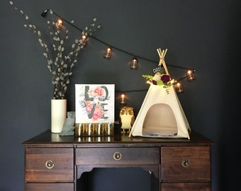 """rustic card box/holder teepee centerpiece table decor with custom floral lighted wreath and mini chalkboard sign - 14"""" base"""