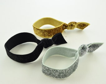 Festive Elegant Glitter Hair Tie Package - 3  Glitter Elastics in Silver, Black and Gold Hair Tie Ponytail or Elastic Bracelets by O twist
