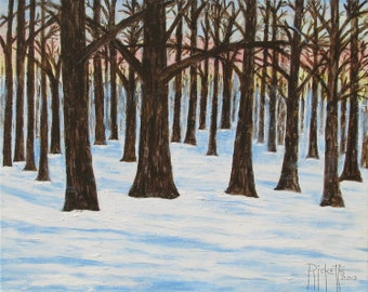 FOREST SNOW 1 - Original Acrylic Painting on Canvas Unframed 20x16 No. 188 E