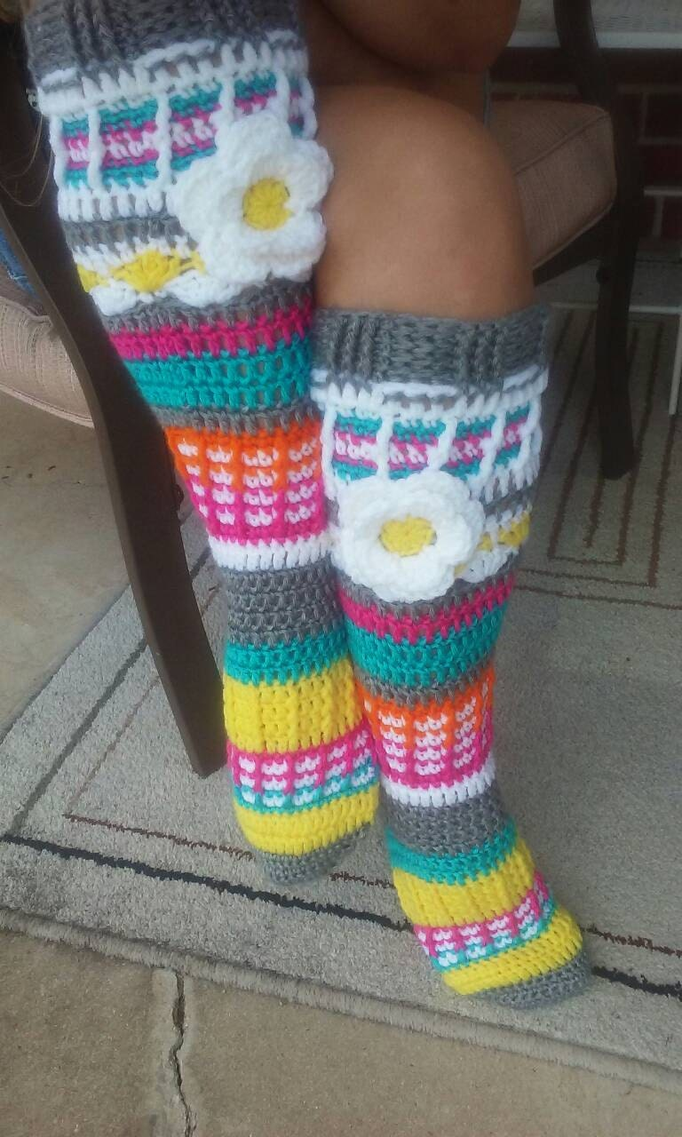 Free Crochet Pattern Knee High Socks : Ladies Free Spirit Knee High Slipper Socks Handmade Crochet