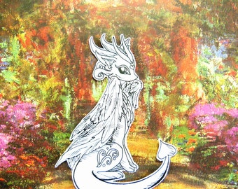 Dragon sticker - Silverwing Dragon. Original, customizable ink drawing on high quality paper, legend myth Italy art collection creature OOAK