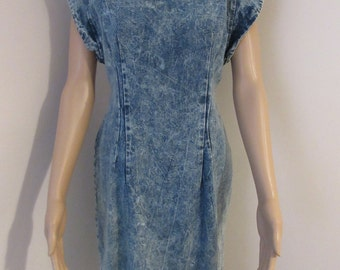 Vintage 1980's Acid Stone Washed Denim Dress By 'Rampage' MADE IN USA - Size 10/12