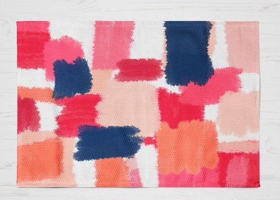 abstract rug mat pink navy mat pink navy decor 2 sizes. Black Bedroom Furniture Sets. Home Design Ideas