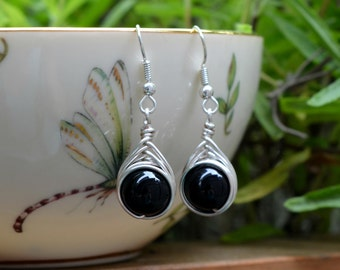 Black Agate Wire Wrapped Drop Earrings (Free shipping in Canada!)