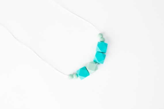Teething Necklace For Mom - Mint Green Aqua Teething Necklace - Silicone Bead Teething Necklace - Chew Jewelry - Nursing Necklace -Baby Gear