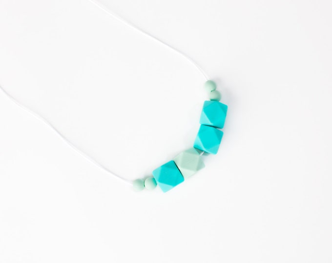 Aqua and Mint Green Teething Necklace For Mom