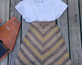 Vintage brown plaid high waisted skirt with hemp detail