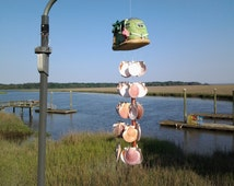 North Atlantic Scallop Shells hanging from RV & Seashell Wind Chime