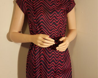 red and black wiggle dress 50s