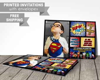 PRINTED superhero birthday party invitations, super hero, superhero, personalized, customized, free shipping, envelopes, blue, red, yellow