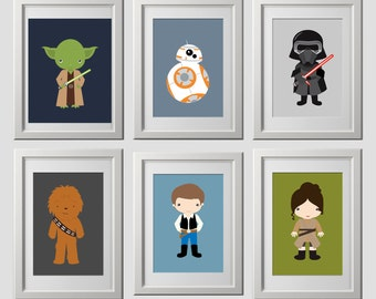 star wars wall art prints, CUSTOM COLORS, star wars wall prints decor, color custom wall prints, high quality prints set of 6 prints, 8x10