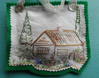 Lavender sachet/pillow/bag made with vintage embroidered material/cottage