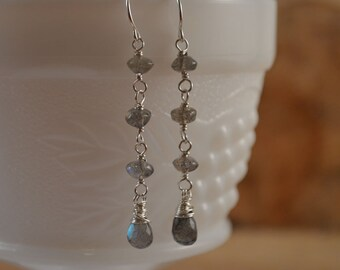 Labradorite Earrings, Sterling Silver Earrings, Labradorite Dangle Earrings, Gemstone Earrings, Natural Gemstone, Natural Labradorite