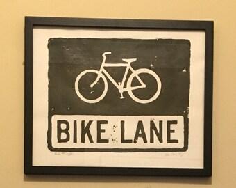 "Bike Lane Print (11""x17""),  chicago cyclist, bike lane, bike lane sign, bike art, chicago street signs, street signs, chicago bikers, art"