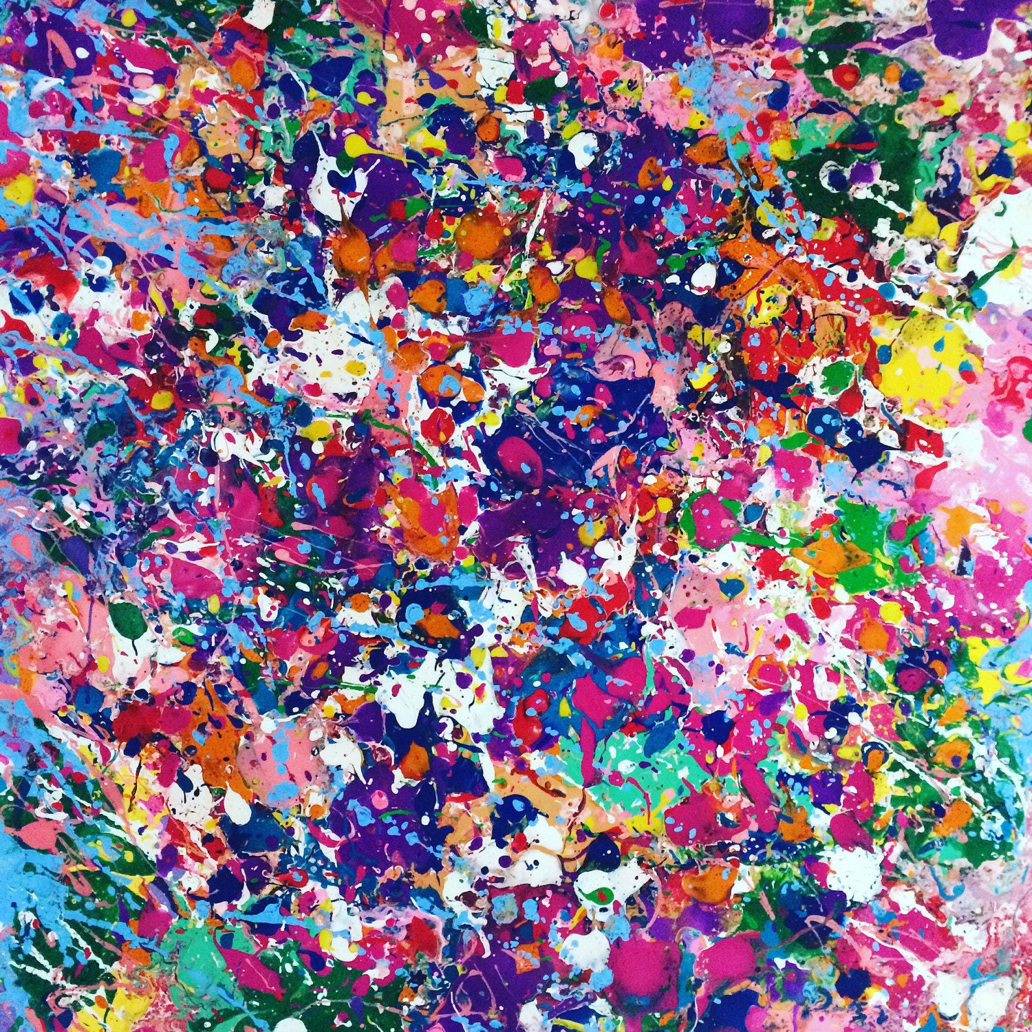 Abstract canvas art splatter painting colorful by resemblesme for Large colorful wall art