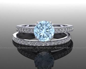 Aquamarine Engagement Set, Diamond And Aquamarine Bridal Set 14k White Gold Round Aquamarine Wedding Set Re00019waq